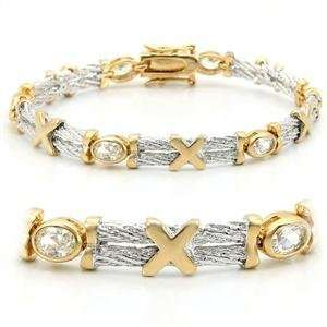 7 Inch XOXO Hugs and Kisses Clear Cubic Zirconia Brass