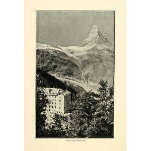 1901 Print Matterhorn Mountain Pennine Alps Switzerland