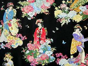 ASIAN FABRIC ~ JAPANESE GEISHA GIRLS ~ LADIES FLORAL ~ METALLIC