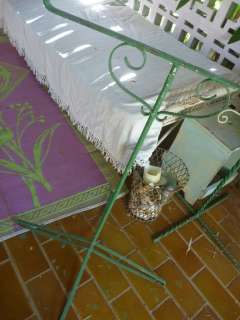 vintage ~ green BIRD CAGE STAND ~ shabby chic ~