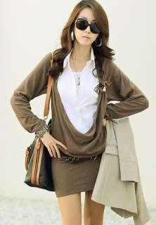 Office Lady White Shirt Cowl Neck Long Sleeve Mini Dress Career