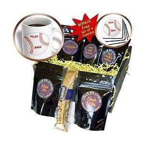 Florene Sports   Baseball With Play Ball In Red   Coffee Gift Baskets