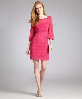 Laundry by Design bougainvillea lace boat neck bell sleeve dress
