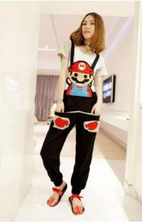 Super Mario Jumpsuit Black Girls Lovely Trousers Pants Rompers Costume