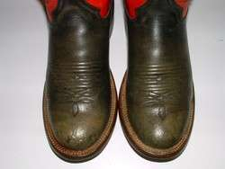 Men RED BLACK Leather TALL BUCKAROO RANCH WORN Cowboy WESTERN Boot 7 D