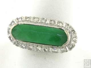 18K WHITE GOLD .60CT DIAMOND/GREEN JADE COCKTAIL RING SIZE 5.75