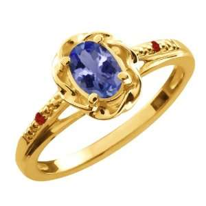 0.47 Ct Oval Blue Tanzanite Red Garnet 10K Yellow Gold
