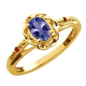0.47 Ct Oval Blue Tanzanite Red Garnet 10K Yellow Gold