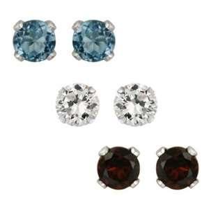 Sterling Silver 1.86ct Garnet, London Blue Topaz, White
