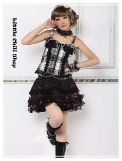 Sweet PUNK NANA Kera GOTHIC DOLLY Plaid VEST TOP 61156