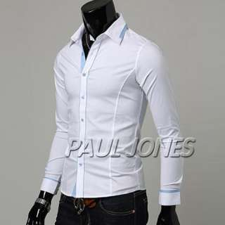 PJ Mens Fashion Casual Patched Shirt fitted dress