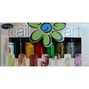 Art Club, Color Club Nail Art Lacquers, 5 Colors, 2 Glitters and 1