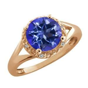 Ct Round Tanzanite Blue Mystic Topaz and Topaz Gold Plated Silver Ring