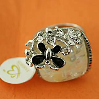 Diamante Black Butterfly Flower Gem Cocktail Ring Fashion