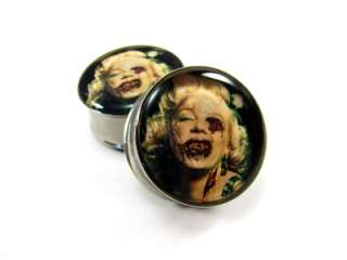 Pair of Zombie Marilyn Monroe Plugs gauges Choose Size