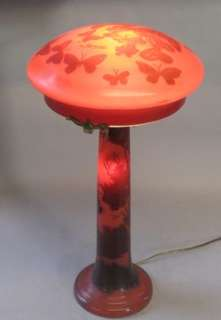 Emile Galle Cameo Art Glass Mushroom Lamp c. 1920 Art Nouveau