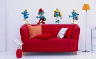 THE SMURFS Movie Decal Removable WALL STICKER Mural Kids Papa Smurf