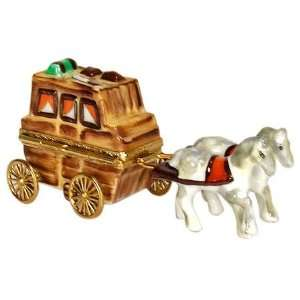 Covered Wagon and Horses French Porcelain Limoges Box