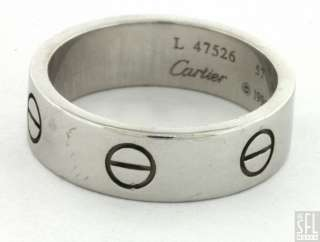 CARTIER LOVE 18K WHITE GOLD 1996 BAND RING SIZE 57 SIGNED AND NUMBERED