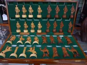 Italian Hand Carved Wooden Inlaid Large Chess Board