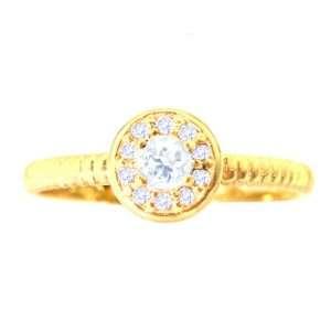 14K Yellow Gold Small Round Gemstone and Diamond Disc Ring White Topaz