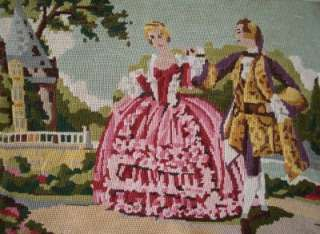 Completed tapestry needlepoint dancing on the veranda