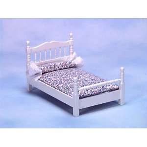 Dollhouse Miniature White Single Bed
