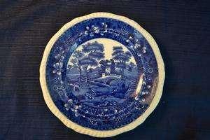 Vintage COPELAND SPODES TOWER Flow Blue Plate 7 1/2