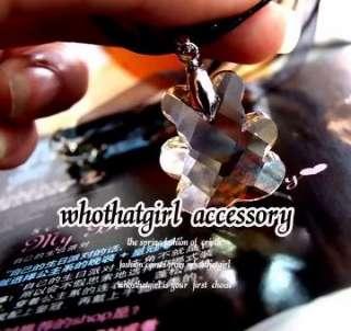 Rhinestone Teddy Bear Pendant Leather Necklace