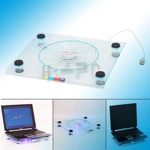 One Large Fan LED Light Cooling Cooler Pad for Notebook Laptop PC Blue