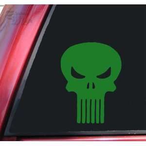 Punisher Skull Vinyl Decal Sticker   Green: Automotive