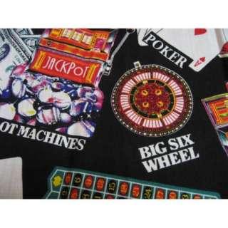 Rockabilly Retro POKER Gambler 2Tone Panel Sexy Pinups Bowling Shirt L