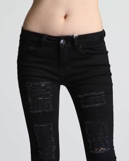 MOGAN 0~3X LACE Inset Ripped Destroyed SKINNY JEANS HOT Distressed Cut