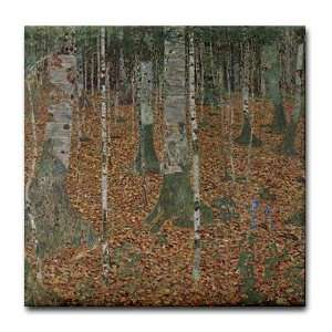 Tile Birch Tree Forest Art Tile Coaster by