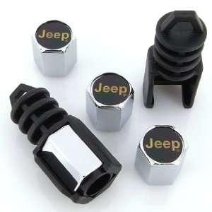 Jeep Gold Logo Anti Theft Tire Stem Valve Caps Automotive