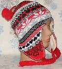 Winter Ear Flap Hat,Beanie,Cap,Earflap,Toboggan,# 349 Red/Black