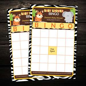 Safari Friends Baby Shower BINGO cards game activity   any color