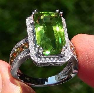 Estate 12.10 ct Peridot Yellow Sapphire & Diamond Vintage Ring   Solid