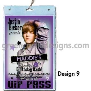 Justin Beiber birthday party invitation VIP pass lanyard 9