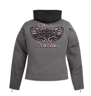 HARLEY DAVIDSON WOMENS COTTON CANVAS JACKET WITH ZIP OFF HOOD