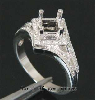 25mm PRINCESS CUT REAL 14K WHITE GOLD .30ct DIAMOND Engagement SEMI