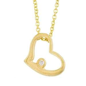 Yellow gold with white diamond open heart pendant necklace Jewelry