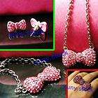 NEW Pink Hello Kitty Headwear Bow Necklace Bracelet earring ring set