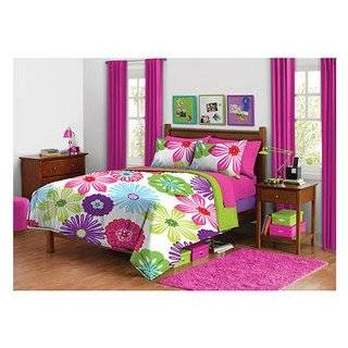 Green Pink Purple Bright Flower Floral Twin Comforter Set (2pc Set