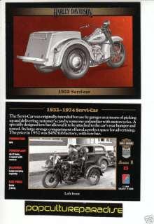 1952 HARLEY DAVIDSON SERVICAR MOTORCYCLE CARD 1932 1974