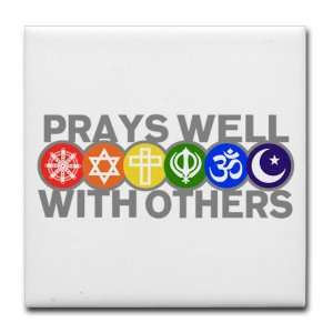 Set 4) Prays Well With Others Hindu Jewish Christian Peace Symbol Sign