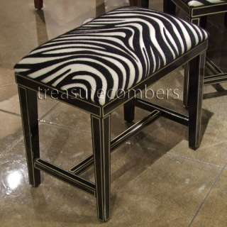 PARIS CHIC Zebra BLACK Black & White Print Bench Stool