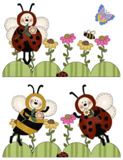 BEE LADYBUG BUG BABY GIRL WALL NURSERY STICKERS DECALS