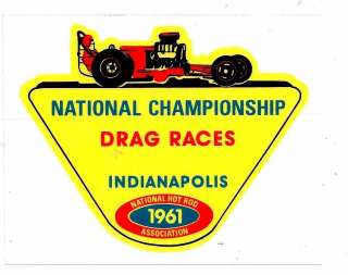 Drag Races Indy Racing Decal Sticker 4 1/2 Size Vintage Style