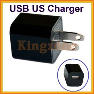 Black USB Mobile Phone Travel Power Wall Charger Adapter US for ipod K
